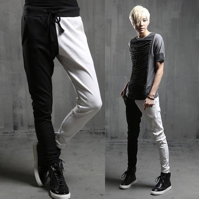 2014 Nova moda harem pants Calças slim personalidade preto e branco patchwork dos homens sweatpants magras calça Casual