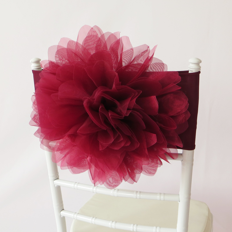 100 PCS Burgundy Flower Chair Sash Wine Red Organza Chair Band Flower Chair Cover for Wedding