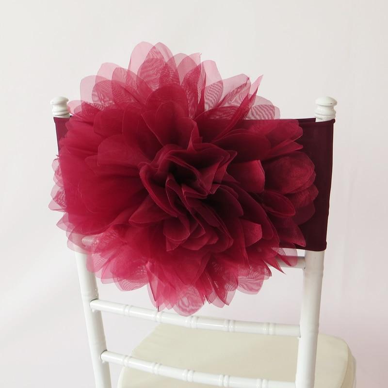 100 PCS Burgundy Flower Chair Sash Wine Red Organza Chair