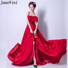 c0600ea5ed JaneVini Sexy Red Strapless Long Bridesmaid Dress 2018 Backless Big Bow  Lace Wedding Party Dress Women Prom Formal Wear Promocao