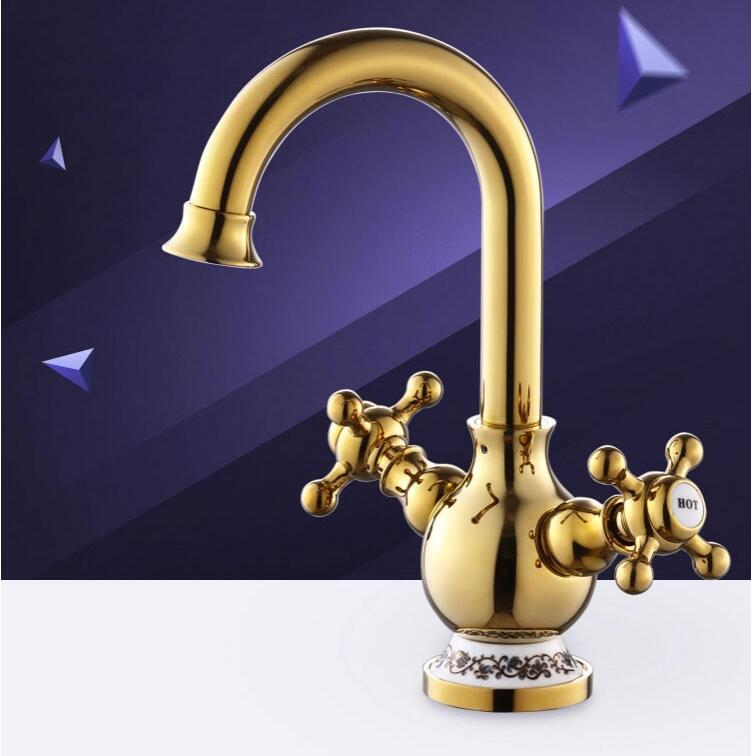 Fashion Europe style high quality brass material gold finished cold and hot bathroom sink faucet basin mixer with cross handle high quality europe style brass material