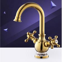 Fashion Europe style high quality brass material gold finished cold and hot bathroom sink faucet basin mixer with cross handle free shipping brass material bronze finished high quality bathroom hot and cold single lever basin sink faucet tap mixer