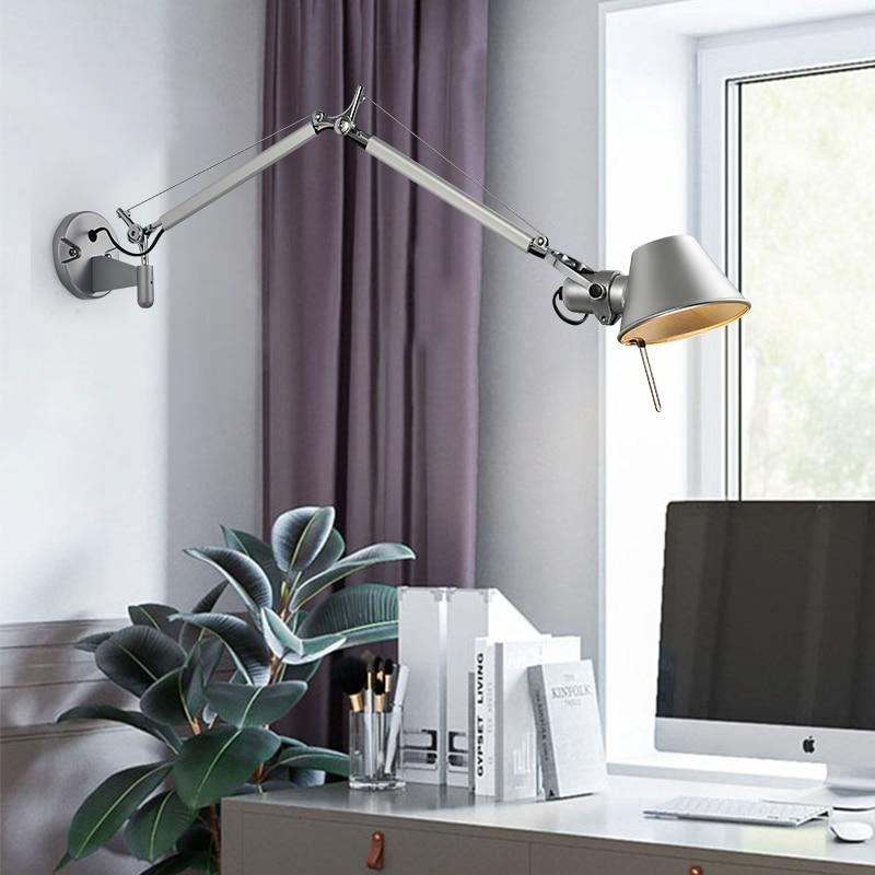 Artpad American Modern Swing Long Arm LED Flexible Wall Lights AC90-260V Silver/Black Eye Protection Bedroom Bedside Wall Lamp