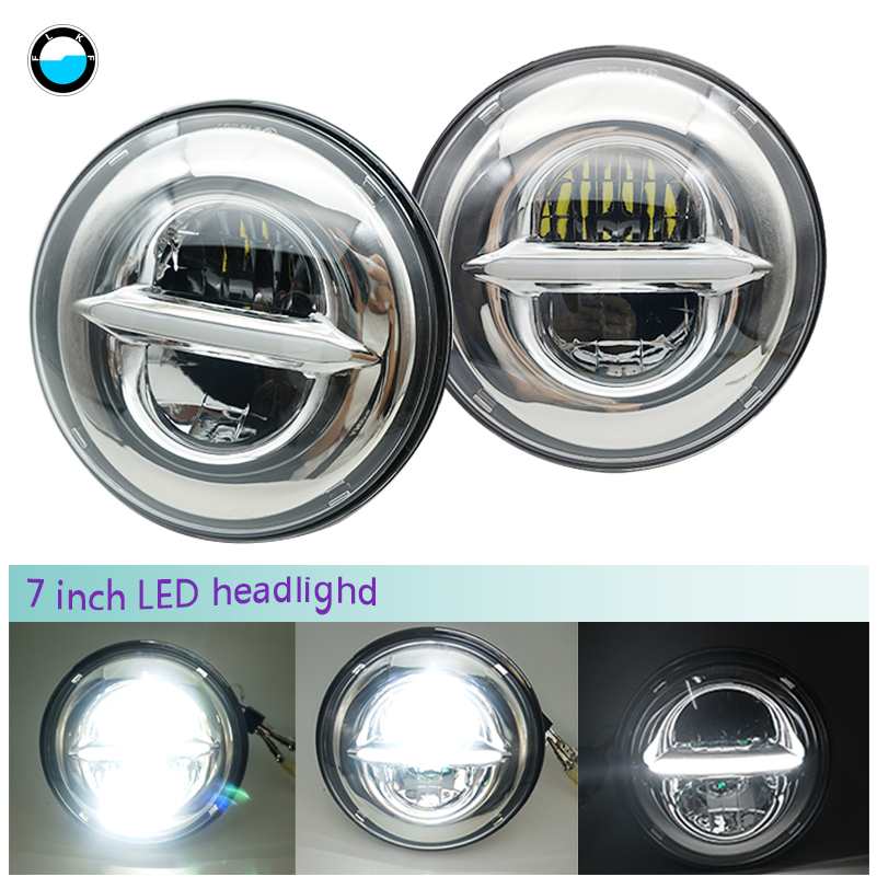For Jeep TJ JK 7 Inch LED Headlight Head light lamps H4 - H13 7 50W white halo Headlight lamp with DRL daymaker For Lada 4x4 .