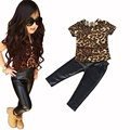 1 Set Retail New bebe fashion cool kids girls clothes set Leopard printed T-shirt PU skinny leather pants legging 2 piece se