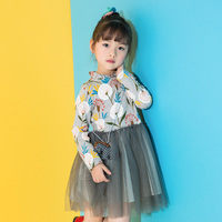 2017 New Girl Tutu Dress Wedding Party Mesh Dress Princess Tulle Long Sleeve Dresses Children Clothes For 2 3 4 5 6 7 8 Years