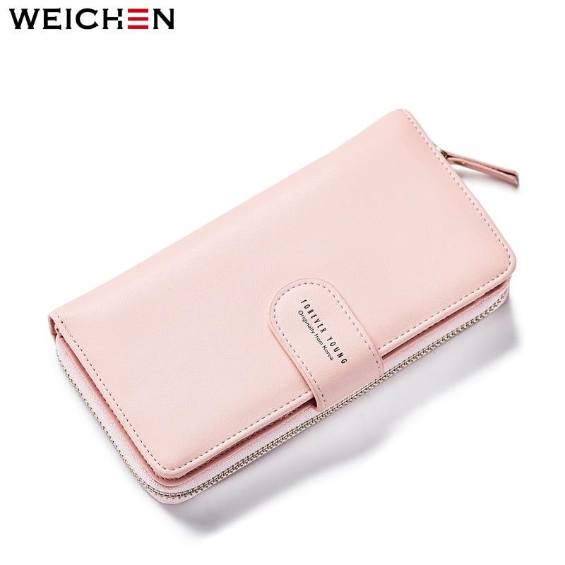 WEICHEN Women Long Wallets Card Holder Multifunctional Clutch Wallets Solid Lady Money Purse Female Coin Phone Pocket