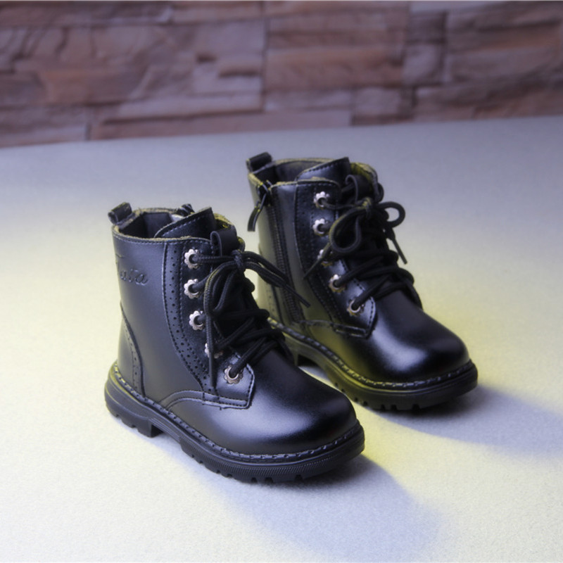 New Children Baby Martin Boots Kids Autumn Winter Pu Leather Boot Boys and Girls Cotton Inside Boots High Quality 2016 new fashion children martin boots girls boys winter shoes kids rain boots pu leather kids sneakers waterproof anti skid