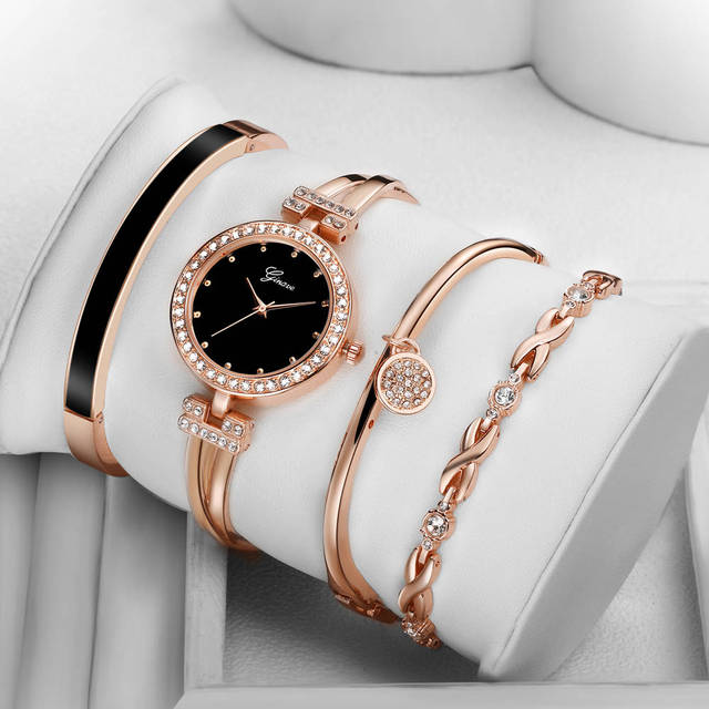 4 PCS set Ginave Watch Women Rose Gold Diamond Bracelet Watch Luxury Jewelry Lad