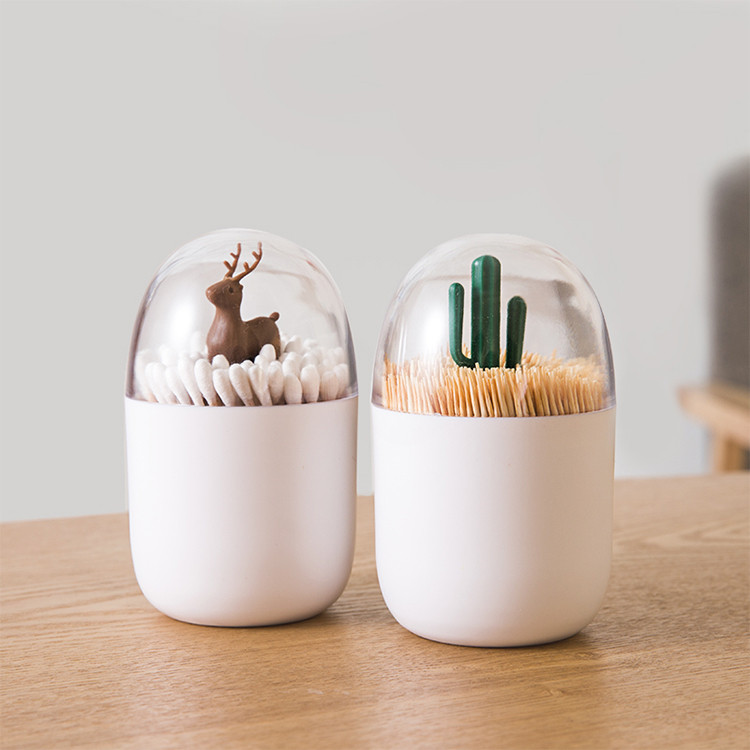 Antler Cactus Rabbit Shaped Makeup Organizer Cosmetic Storage Box ABS+PS Bathroom Cotton Swab Makeup Organizer Toothpick Holder