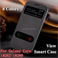 For Samsung Galaxy Core i8262 i8260 8260 View Window Flip Leather Back Cover Cases Battery Housing Case