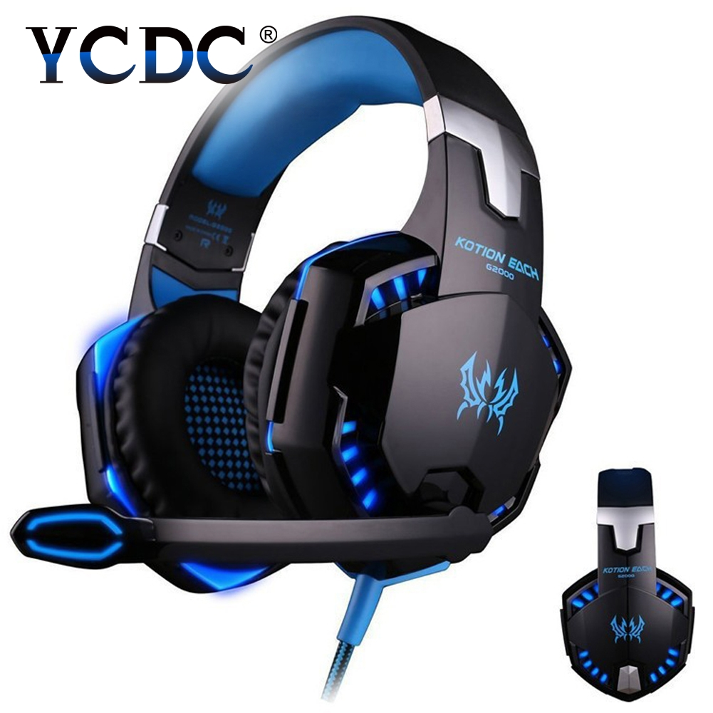 YCDC 3.5MM Wired Gaming Headset Deep Bass Game Earphone Computer headphones with microphone led light headphones for computer pc 2017 hoco professional wired gaming headset bass stereo game earphone computer headphones with mic for phone computer pc ps4