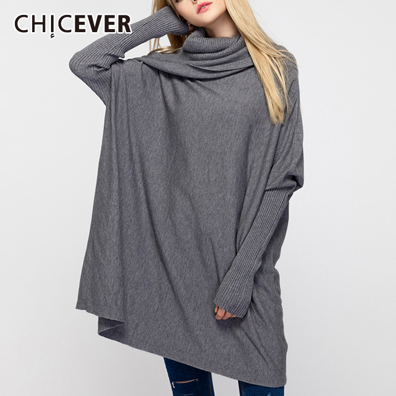 CHICEVER Jumper Sweater Female Turtleneck Batwing Sleeve Loose Big Size Pullovers Sweaters Female Fashion New Casual 2019 Autumn