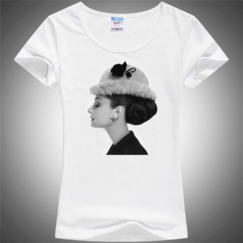 Women's T-shirt 3d Audrey Hepburn Woman T Shirt O Neck Short Sleeve Stylish Illustration ladys Tees 3d Female t-shirts 415#