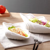 clam pure white ceramic snack plate steak dish inn tableware irregular pasta dish dinnerware Dessert Plate