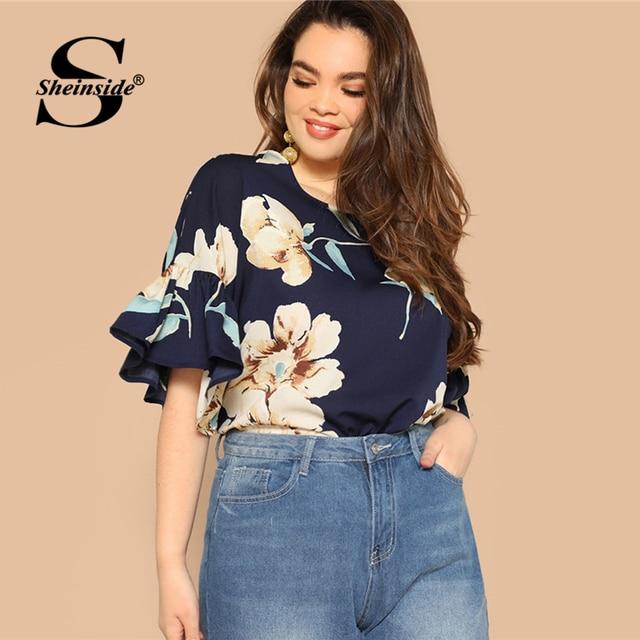 Sheinside Plus Size Floral Print Flounce Sleeve Blouse Women 2019 Summer Casual Half Sleeve Blouses Ladies Keyhole Back Top