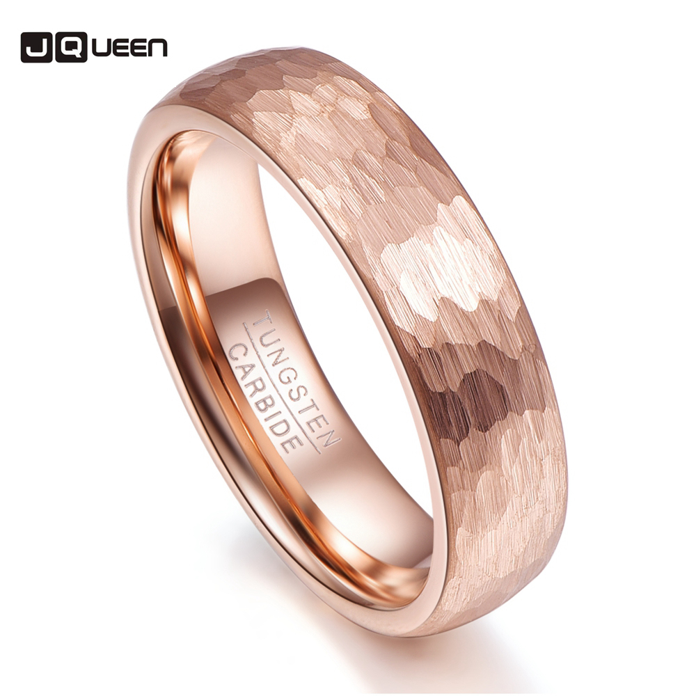 Rose Gold Geometric Figure 6mm Width Men Rings Charm Tungsten Carbide Anillos para hombres Fashion Jewelry