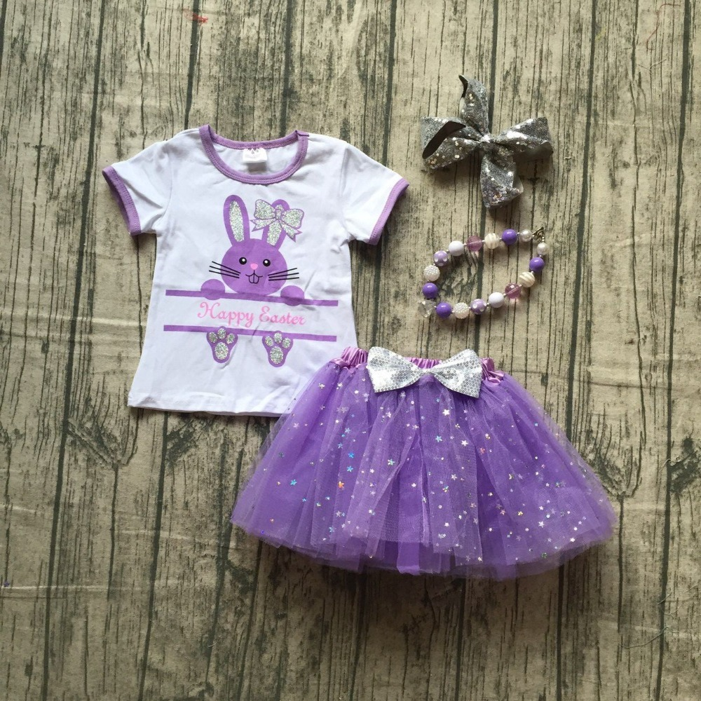 baby girls spring dress clothing girls Easter bunny clothes girls happy Easter top with tutu laverder skirts with accessories