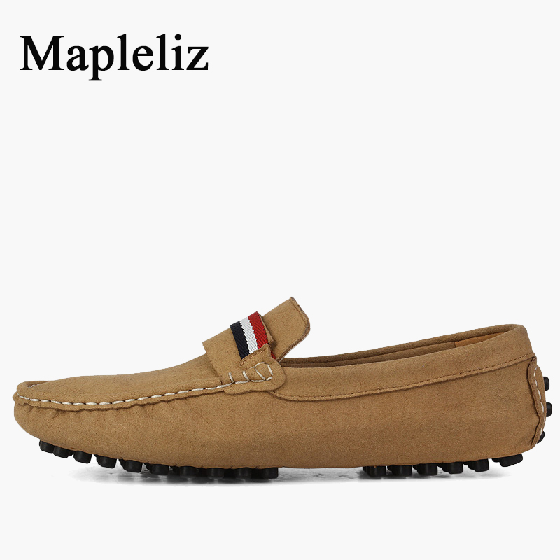 Mapleliz Brand Casual Solid Men Shoes Genuine Leather Slip-On Boat Shoes A Pedal Peas Shoes For Men Driving High Quality Shoes branded men s penny loafes casual men s full grain leather emboss crocodile boat shoes slip on breathable moccasin driving shoes