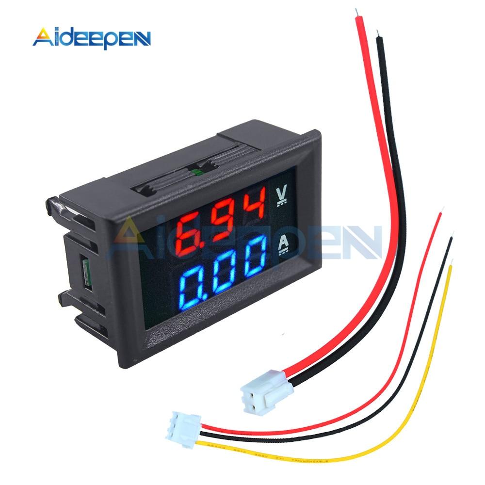 """Mini Digital Voltmeter Ammeter DC 100V 10A Voltmeter Current Meter Tester 0.28"""" 0.28 inch Blue+Red LED Amp Dual LED Display 1"""