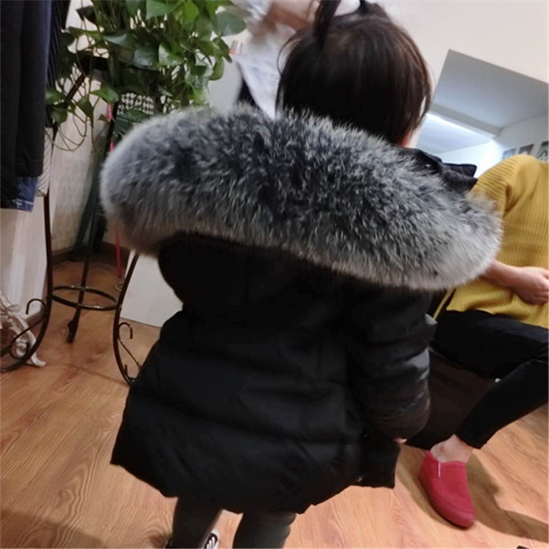 Kids Down Jacket Boys Girls 90% White Duck Down Coat Children Fox Raccoon Fur Hooded Baby Thicken Warm -30 Degrees Clothes Suit new winter girls boys hooded cotton jacket kids thick warm coat rex rabbit hair super large raccoon fur collar jacket 17n1120