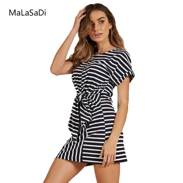 fd747114b258 Women Casual O-Neck Loose Dresses Summer Sex Short Sleeve Bow Mini Dresses  Black Striped Women Bodycon Dress