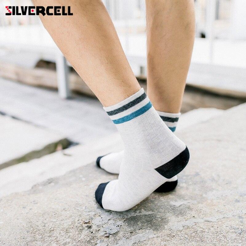Mens Business Socks For Men Cotton Brand Crew Autumn Winter Black White Socks meias homens 5 Pairs US 6.5-9.5;UK 5.5-8.5