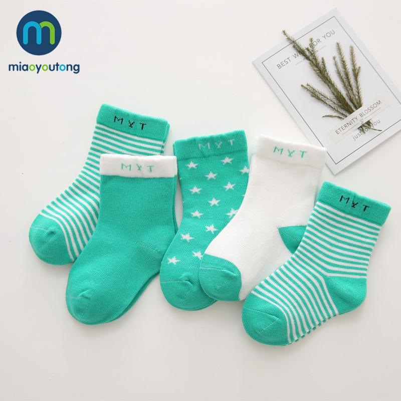 5 Pair Simple Geometry Safe Warm Comfort High Quality Cotton Soft Newborn Socks Kids Boy New Born Baby Girl Socks Miaoyoutong