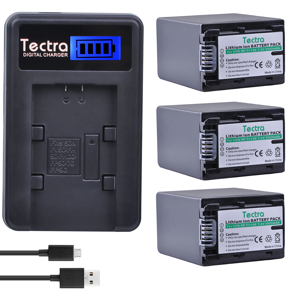 Tectra 3pcs NP-FV100 NP FV100 Camera Battery + LCD USB Charger for Sony NP-FH30 NP-FH40 NP-FH50 NP-FH60 NP-FH70 NP-FH90 sony np bg1 battery