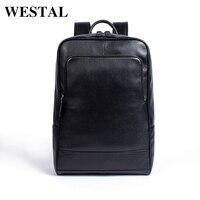 WESTAL 100% натуральная кожа рюкзак мужской Бизнес сумка Школьный Модные мужские рюкзаки для мужчин кожа мужчина Рюкзаки Новый 8110