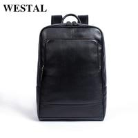 WESTAL 100% Genuine Leather Backpack Male Business bag schoolbag fashion men's backpacks for men Leather man backpacks new 8110