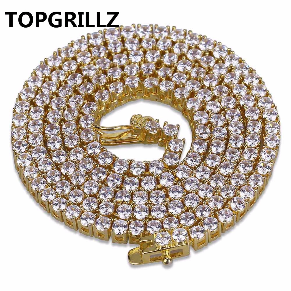TOPGRILLZ 3mm 4mm 5mm 6mm 8mm Iced Out Zircon 1Row Tennis Chain Necklace Hip Hop Jewelry Gold Silver Color Men CZ Necklace Gifts 2018 never fade stainless steel tennis chain 4mm 5mm 6mm width 18 20 22 24inch micro paved cubic zircon hip hop mens jewelry