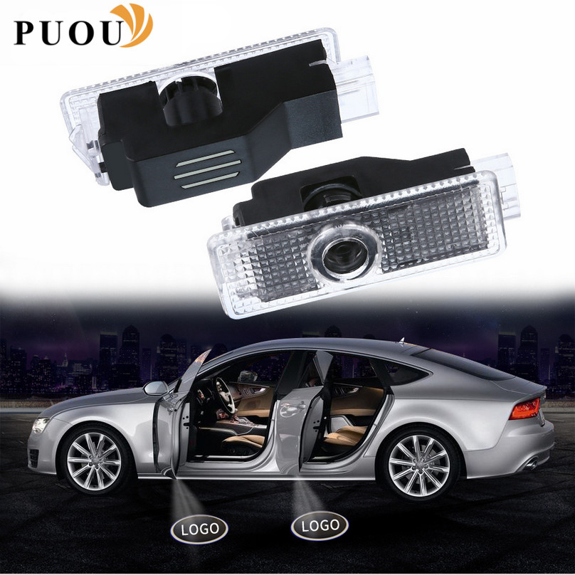2x Car Logo Door Light LED Projector Shadow Welcome Light Accessories Sticker For Audi A4 B6 B8 B7 A6 C5 C6 C7 A3 A5 Q3 Q5 Q7 TT