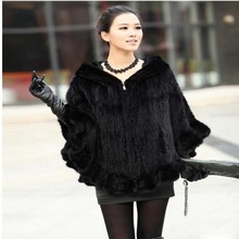 Fashion Women Fur Shawl Winter Knitted Mink Fur Stole With Fur Hood Knitted Mink Poncho Pashmina Free Shipping