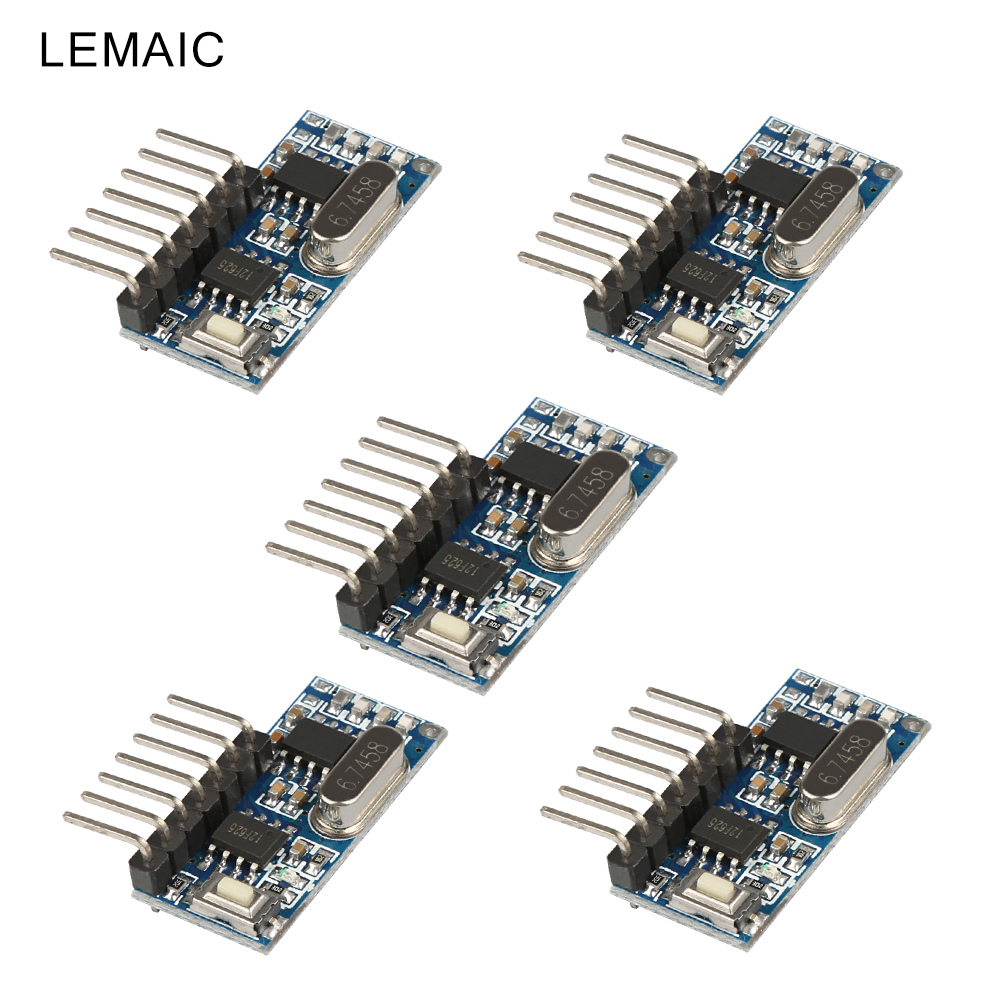 5Pcs Relay Portable Module Learning Code Remote Comtrol Switch Convenience Electronic Receiver 315MHz RF Receiver For Smart Home 12v 2ch remote control switch 2transmitter 1receiver 1ch 1button independently 315 433mzh with relay indicator learning code
