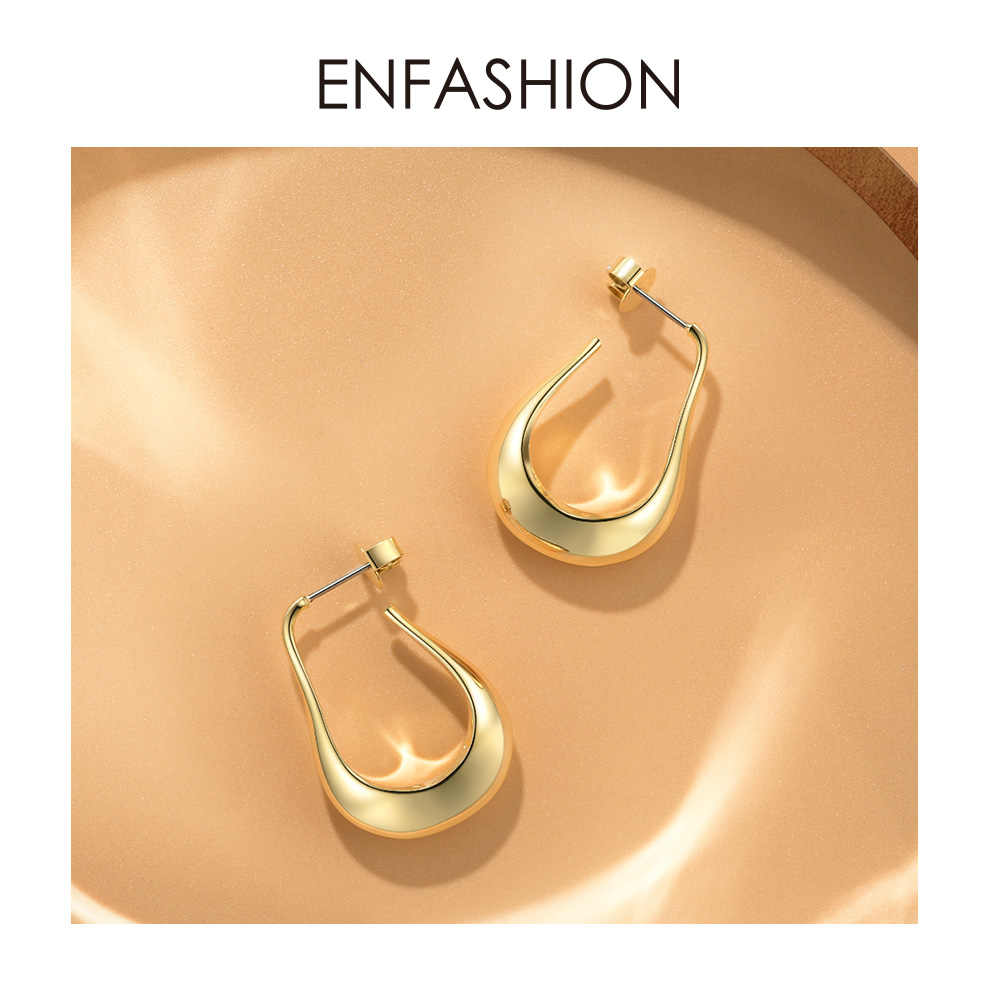 ENFASHION Geometric Irregular Hoop Earrings Simple Circle Hoops Small Water Droplets Earings For Women Pendientes Aros EC191028