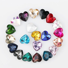 10 шт 12 мм Сердце Любовь заостренный Назад Кристалл Необычные каменные стеклянные камни для DIY свадебное платье ювелирные изделия камни бусины