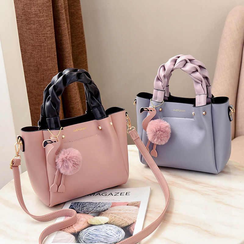 新デザイン女性バッグハンドバッグ女性電話ポケットソフト女性のハンドバッグフラップフラミンゴタッセルレザーの女性のショルダークロスボディバッグ