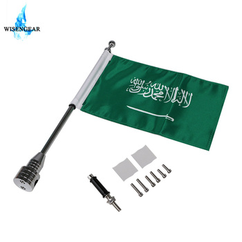 Motorcycle Saudi Arabia Flag Banner Pole For Harley Sportster XL 883 1200 Touring Honda Goldwing CB VTX GL Mount Luggage Rack image