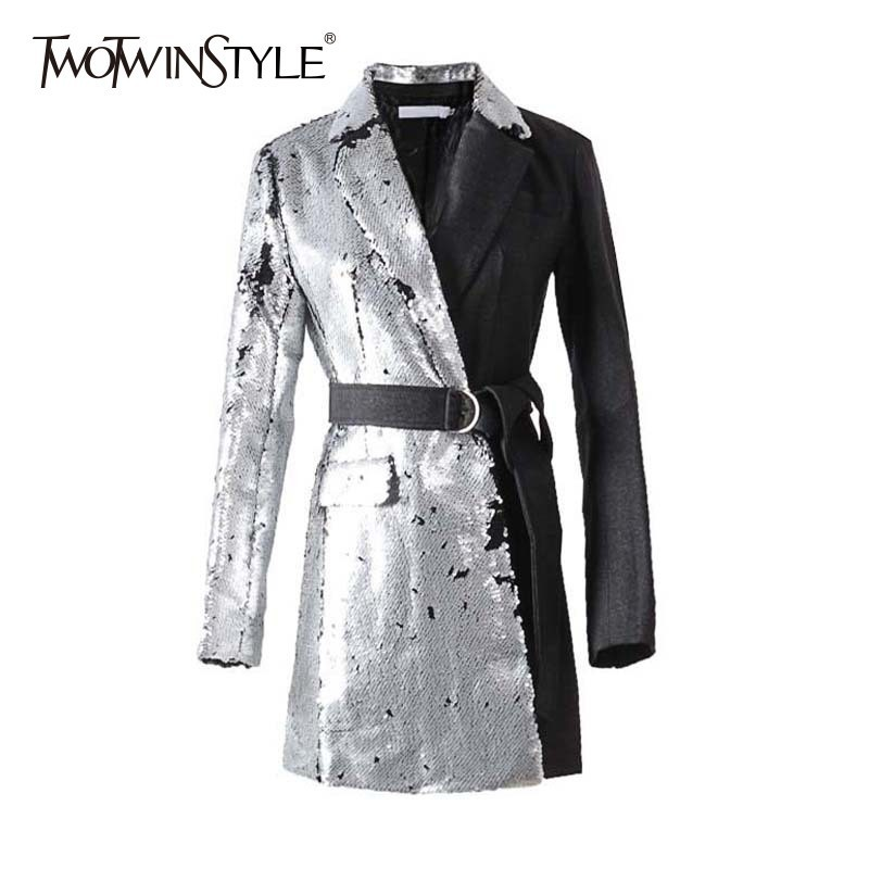 TWOTWINSTYLE Casual Patchwork Sequin Blazer Coat Female Lace Up Long Sleeve Hit Colors Women's Suit Fashion 2019 Spring Autumn