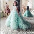 1 anos De Aniversário Vestido verde da hortelã plissada longa da menina de flor vestidos princesa elegante ruched puffy prom vestidos juniors vestidos de festa