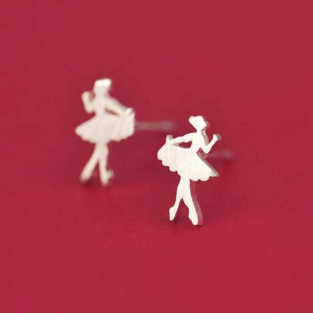 Small Dancing Girl Silver Stud Earrings7