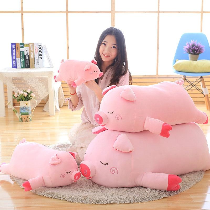 40-100 cm juguetes de tamaño más grande de dibujos animados de cerdo Rosa juguetes de peluche almohada de cerdo gordo cojín suave zodíaco chino muñeca de cerdo Regalo de Cumpleaños niño bebé