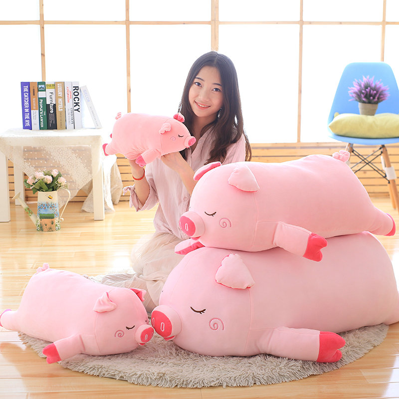 45-100cm Bigger size toys Cartoon pink pig plush toys fat pig pillow soft cushion Chinese zodiac pig doll birthday gift kid baby