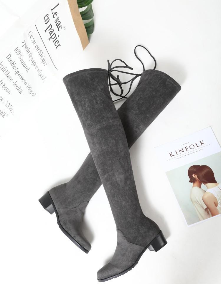 ae86b070596 Fashion Orange Black Grey Suede Sewing Upper Winter Boots Women Over The  Knee Round Toe Chunky Heel Ladies Booties Slip On Shoes Ankle Boot High  Heel ...