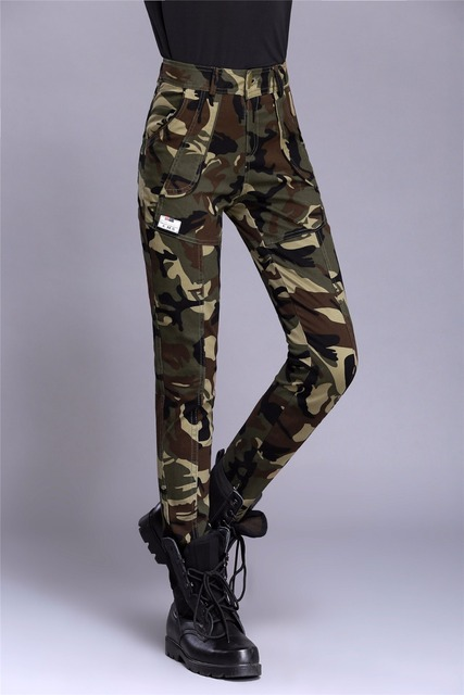 6ba42269a1e8 2018 Women Army Pants Full Length Casual Cargo Pant High Waist Skinny  Leisure Army Green Camouflage Trousers 2 Colors Pants K663