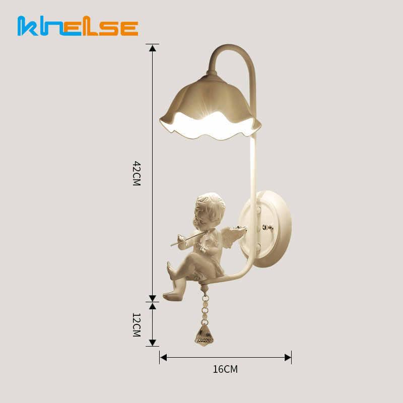 Cristal pequeno anjo lâmpada de parede menino menina quarto iluminação cabeceira sala estar estudo corredor criativo escada luz parede interior