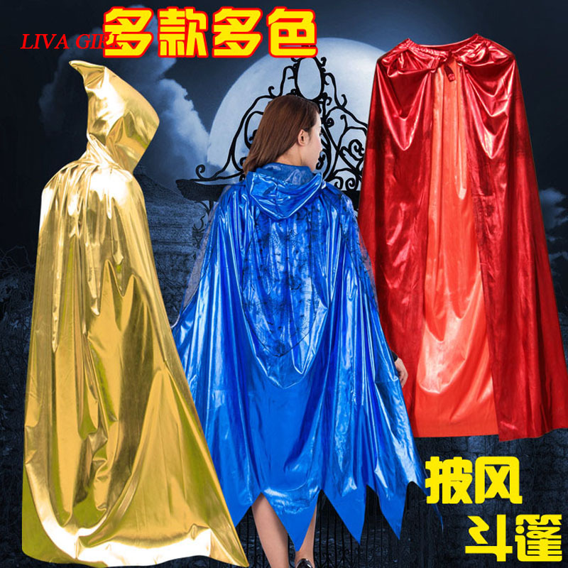 Gothic Hooded Stain Cloak Wicca Robe Witch Larp Cape Women Men Halloween Costumes Witche Vampires Fancy Party Size S L