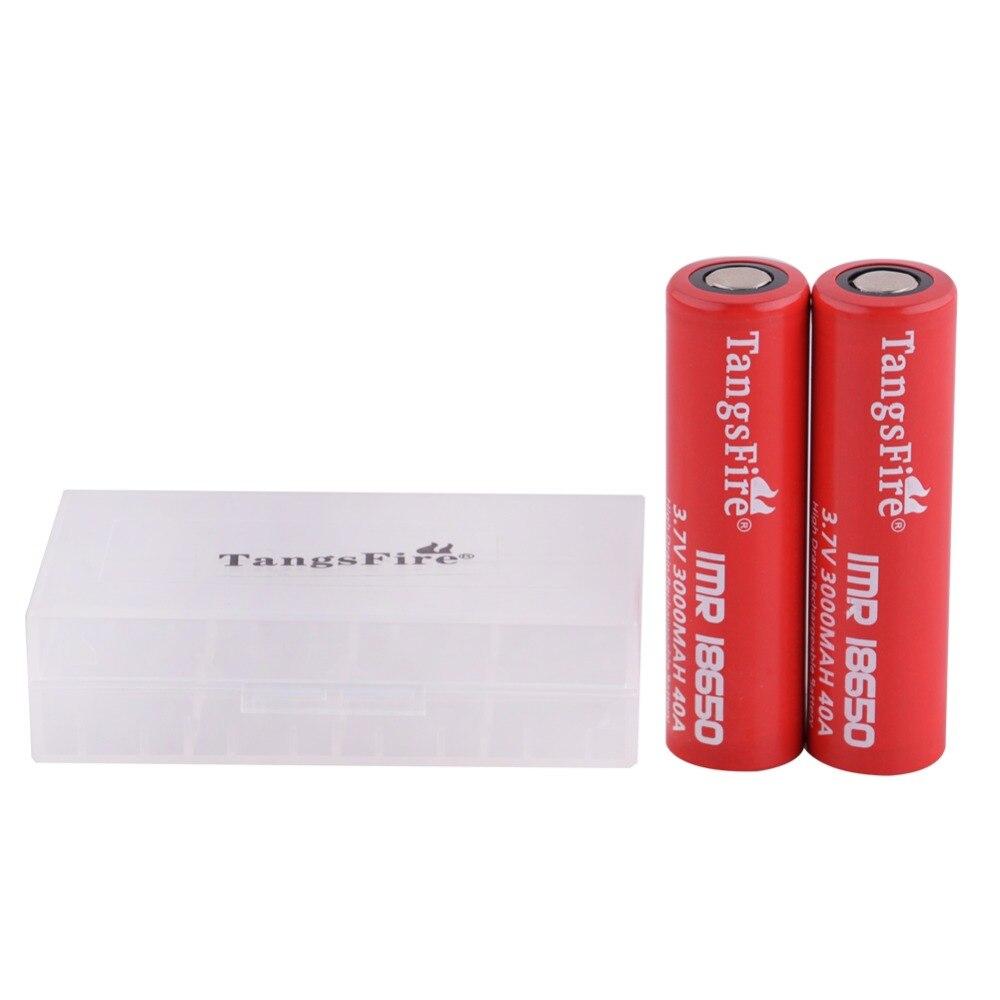 TangsFire 2pcs IMR 18650 Flat Top Battery 3 7V 40A Li Mn Rechargeable Batteries font b