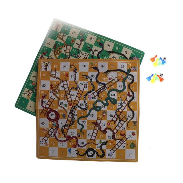1 шт. Портативный змеи и лестницы игра-головоломка складной змея шахматы игрушки для детей дошкольное обучение подарок на день рождения
